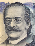 Ricardo Palma. On 10 Intis 1986 Banknote from Peru. Peruvian author, scholar and librarian Stock Images