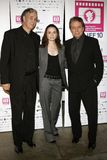 Ricardo Preve, Mia Maestro and Edward James Olmos. Director Ricardo Preve, Mia Maestro and Edward James Olmos attend the LALIFF Screening of `Chagas: A Hidden Royalty Free Stock Images