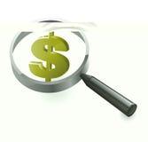Ricchezza finanziaria dei dollari di ricerca Fotografia Stock