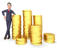 Ricchezze di Coins Represents Profit dell'uomo d'affari e rappresentazione del tesoro 3d Fotografie Stock
