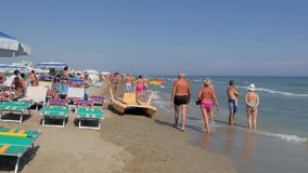 Riccione Beach, Italy, summertime, sunny day, 4k Royalty Free Stock Images