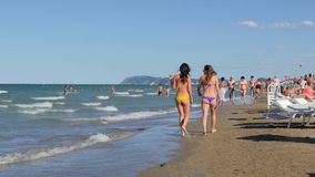 Riccione Beach, Italy, summertime, sunny day, 4k stock video footage