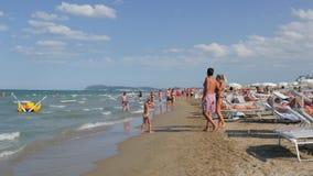 Riccione Beach, Italy, summertime, sunny day, 4k Stock Photo