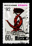 Riccione-Ruderwettkampf, internationales Stempel-Ausstellung serie, circa 1992 Lizenzfreie Stockbilder