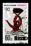 Riccioneboot die, Internationale Zegeltentoonstelling serie, circa 1992 rennen Royalty-vrije Stock Afbeeldingen