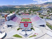 Rice–Eccles Stadium aerial view Salt Lake City, Utah, USA. Aerial view of Rice–Eccles Stadium in University of Utah in Salt Lake City, Utah, USA. It is the Royalty Free Stock Images