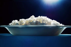 Rice. A bowl of rice with blue light Royalty Free Stock Photos