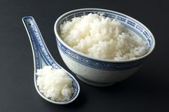 Rice. Bowl of white rice close up Stock Photography
