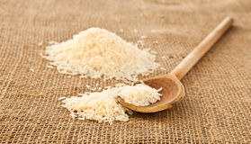 Rice. Basmati rice grains on hessian Royalty Free Stock Photography