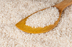 Rice. In a discolored wooden spoon Stock Image