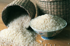 Rice. In different types of containers Stock Photos