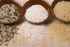 Rice. Various shapes of rice white and black Stock Photography