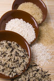 Rice. Various shapes of rice white and black Royalty Free Stock Images