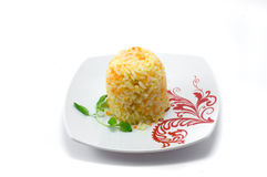 Rice. Boiled rice on the plate on white background Royalty Free Stock Photography