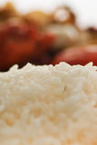 Rice. Oriental food, rice and chinese chicken in background Royalty Free Stock Photos