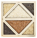 Rice abstract in tangram tray Royalty Free Stock Photography