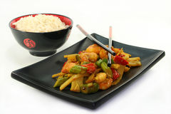 Rice with Asian shrimp Royalty Free Stock Photo