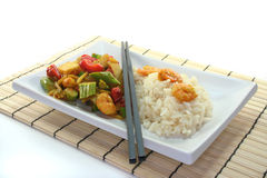 Rice with asian shrimp Royalty Free Stock Image