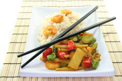Rice with asian shrimp Stock Photos