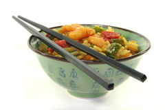 Rice with asian shrimp Royalty Free Stock Images
