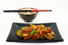 Rice with Asian shrimp Royalty Free Stock Photography