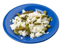 Rice with asparagus beans on a plate isolated  on white background .healthy  vegetarian food top view. Asian cuisine. Rice with asparagus beans on a blue  plate royalty free stock images