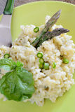Rice by asparagus cream Royalty Free Stock Photography