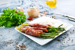 Rice with asparagus and meat Royalty Free Stock Photos