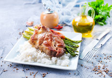 Rice with asparagus and meat Stock Photo