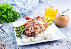 Rice with asparagus and meat Royalty Free Stock Photography