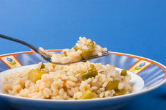 Rice with asparagus. And onion dish of Italian cuisine Royalty Free Stock Photo