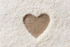 Rice background Space in the middle of a heart Royalty Free Stock Image