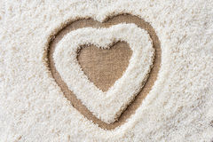Rice background Space in the middle of a heart Stock Image