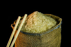 Rice in a bag stock photography