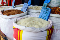 Rice in a bag at the marketplace. In Mauritius Royalty Free Stock Photo