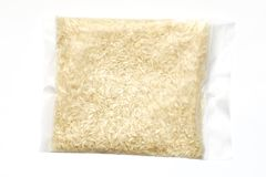 Rice bag. Rice pack isolated on a white background royalty free stock image