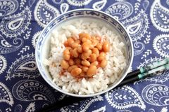 Rice with baked beans. Some cooked rice with baked beans and a sauce of tomatoes Royalty Free Stock Photo
