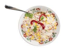 Rice, baleron i kukurydzana sałatka, fotografia royalty free