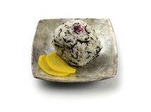 A rice ball. On the silver dish royalty free stock photo