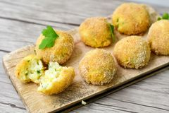 Home made    rice italian style  Croquette. Rice balls or croquette , parmesan cheese Stock Photography