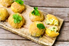 Home made    rice italian style  Croquette. Rice balls or croquette , parmesan cheese Royalty Free Stock Photography