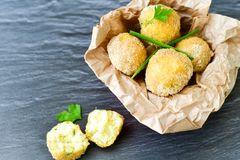 Home made    rice italian style  Croquette.Arancini. Rice balls or croquette  with parmesan cheese Royalty Free Stock Photos