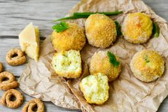 Home made    rice italian style  Croquette. Rice balls or croquette , parmesan cheese Royalty Free Stock Photo