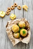 Home made    rice italian style  Croquette.Arancini. Rice balls or croquette  with parmesan cheese and italian bread stick taralli Stock Photography