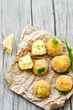 Home made rice italian style Croquette. Arancini. Rice balls or croquette , parmesan cheese, taralli bread stick stock photos