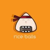 Rice balls ninja mascot cartoon vector Stock Photography