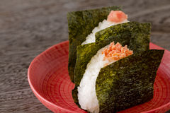 Rice balls. Two rice balls with salmon topping Stock Photos
