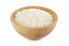 Rice in a bamboo bowl Stock Image