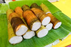 Rice bamboo or lemang is popular festive cusine in Malaysia. Sold at road side stalls during iftar or Muslim fasting month royalty free stock image