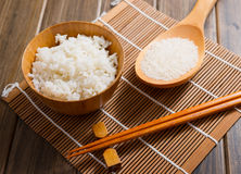 The rice on bamboo mat Royalty Free Stock Photography